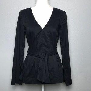 Trina Turk Black Long-sleeve Tie Waist Blouse